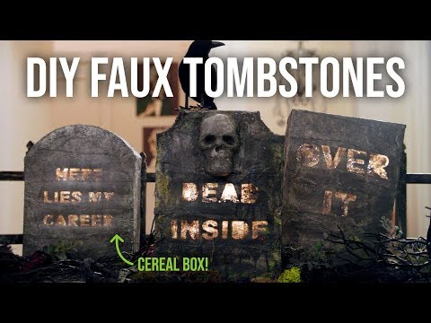 DIY Faux Tombstones from a Cereal Box - Easy Halloween Decoration - HGTV Handmade