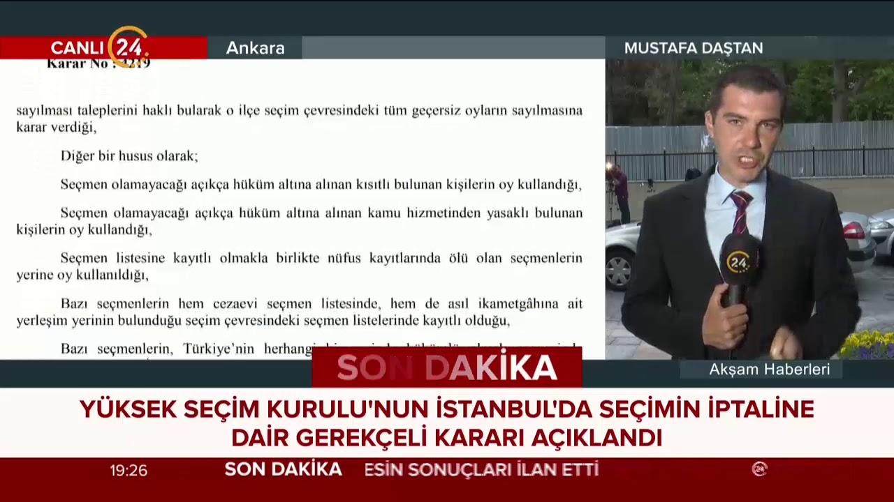 YSK, İstanbul'da seçimin iptaline dair gerekçeli kararı açıkladı