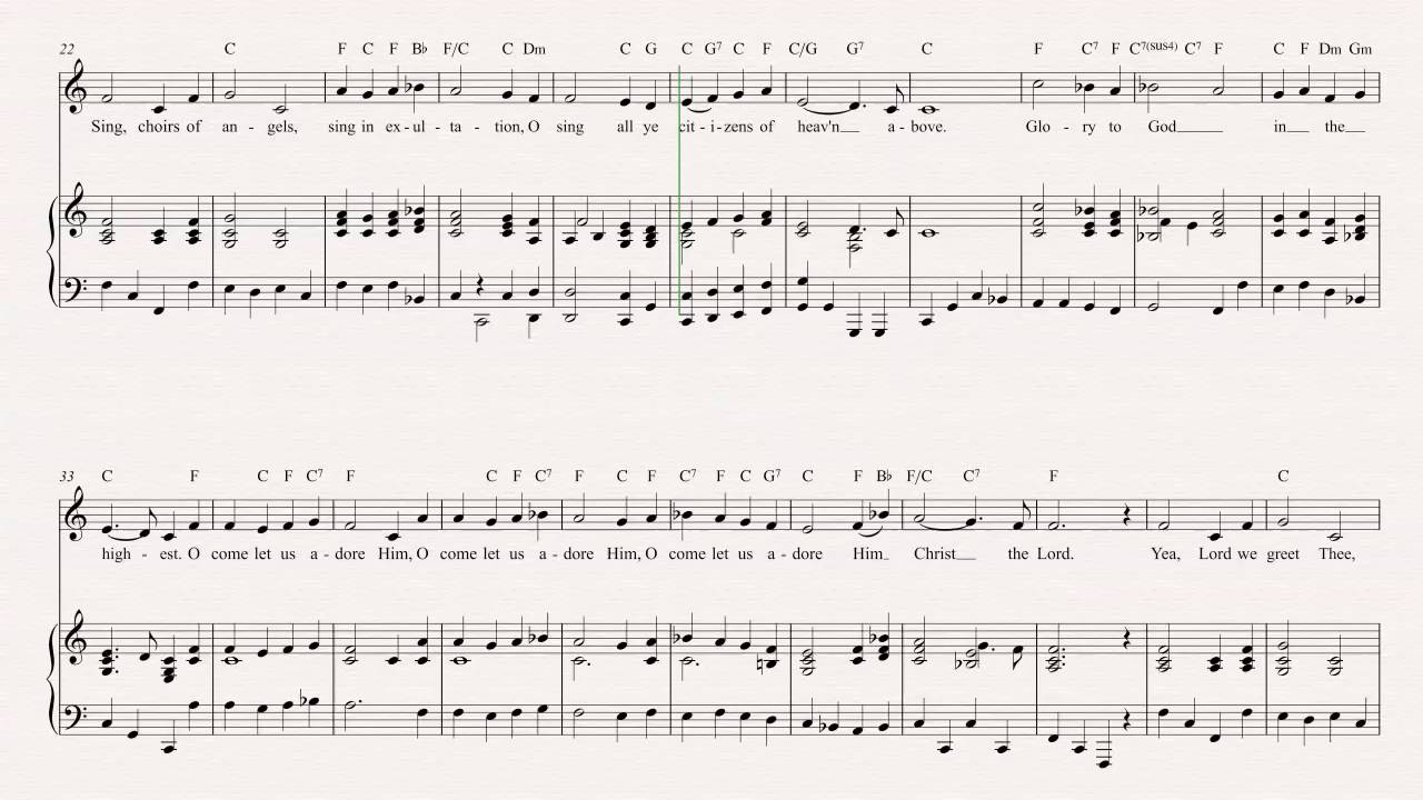 violin o come all ye faithful christmas carol sheet music chords vocals youtube. Black Bedroom Furniture Sets. Home Design Ideas