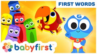 Toddler Learning Video w Color Crew & Larry | Learn ABC Alphabet w Superhero for Kids | BabyFirst TV