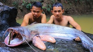 Cooking Big Giant Catfish Sour Soup Eating Delicious In Forest