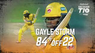 Gayle storm in Abu Dhabi T10 I 84* off 22 balls I 12 balls T10 Fifty I Day 6 I Team Abu Dhabi