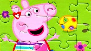 Свинка Пеппа на качелях собираем пазлы для детей с героями мультика свинка пеппа