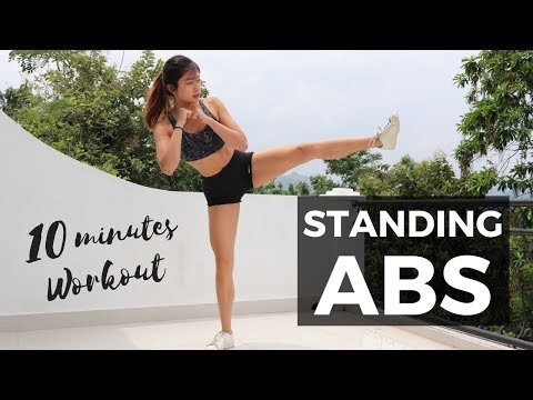 10 Minute Standing Abs Workout: BURN BELLY FAT FOR SMALL WAIST | No Mat Required