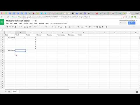 google sheets - create a homework tracker