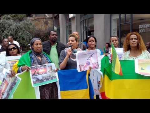 Ethiopians In Sweden, Stockholm Demonstrate Infront Of Ethiopian Embassy