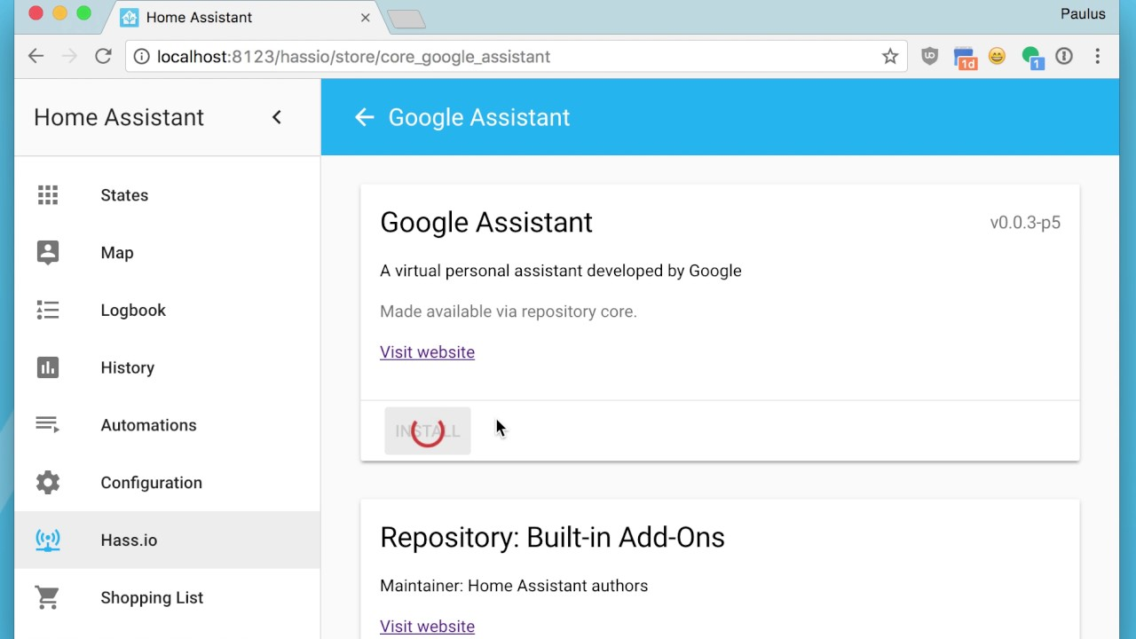 Installing Google Assistant on Hass io