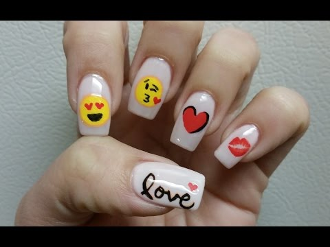 Valentine's day Nail art tutorial Emoji Love