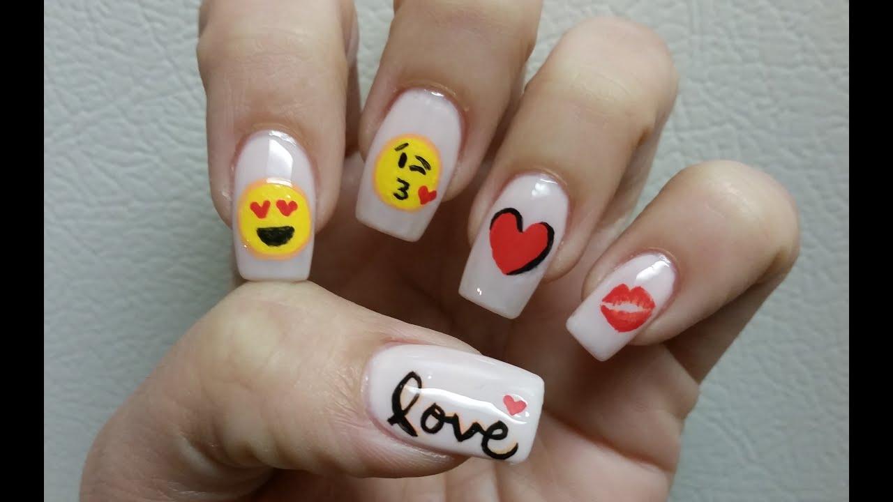Valentine\'s day Nail art tutorial Emoji Love - YouTube