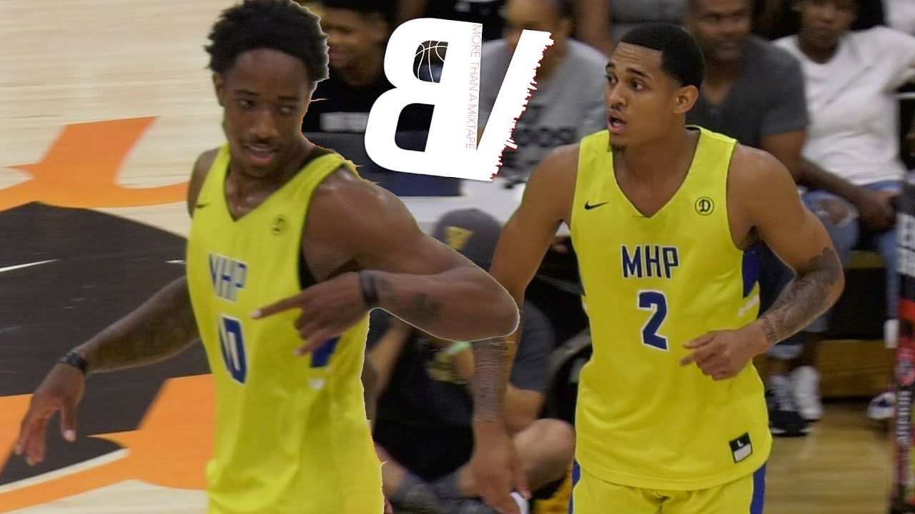 demar-derozan-jordan-clarkson-2018-drew-league-deubt-barely-trying-and-still-getting-buckets