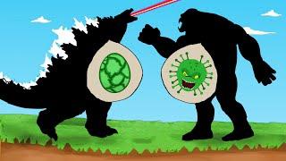 Godzilla vs Shin Godzilla : Rescue KING KONG From CORONAVIRUS Attack   Godzilla Animation Cartoon