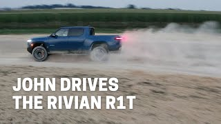 Tesla owner drives the Rivian R1T (like he stole it)