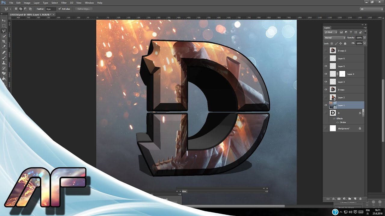 D Design Logo Photoshop