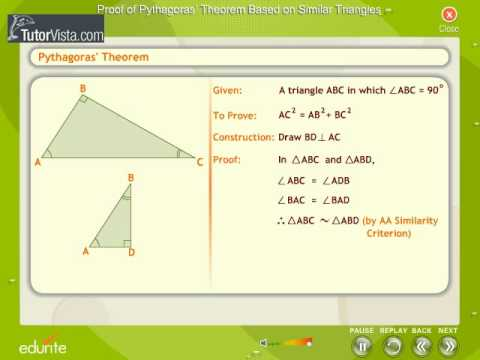 Proof Of Pythagoras Theorem Based On Similar Triangles Youtube