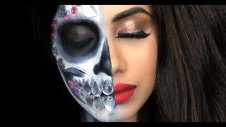 Half Bedazzled SKULL n' Half GLAM! | Halloween tutorial | Malvika Sitlani