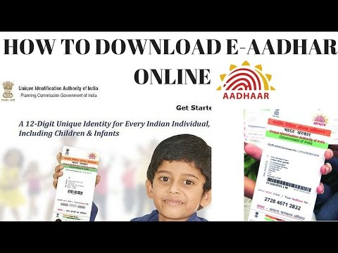 HOW TO DOWNLOAD E AADHAR ONLINE