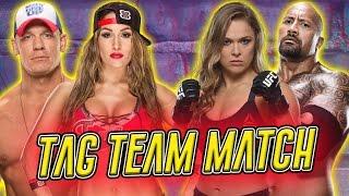 Nikki Bella & John Cena VS Ronda Rousey & The Rock / Intergender Match (WWE 2K16 PC Mods)