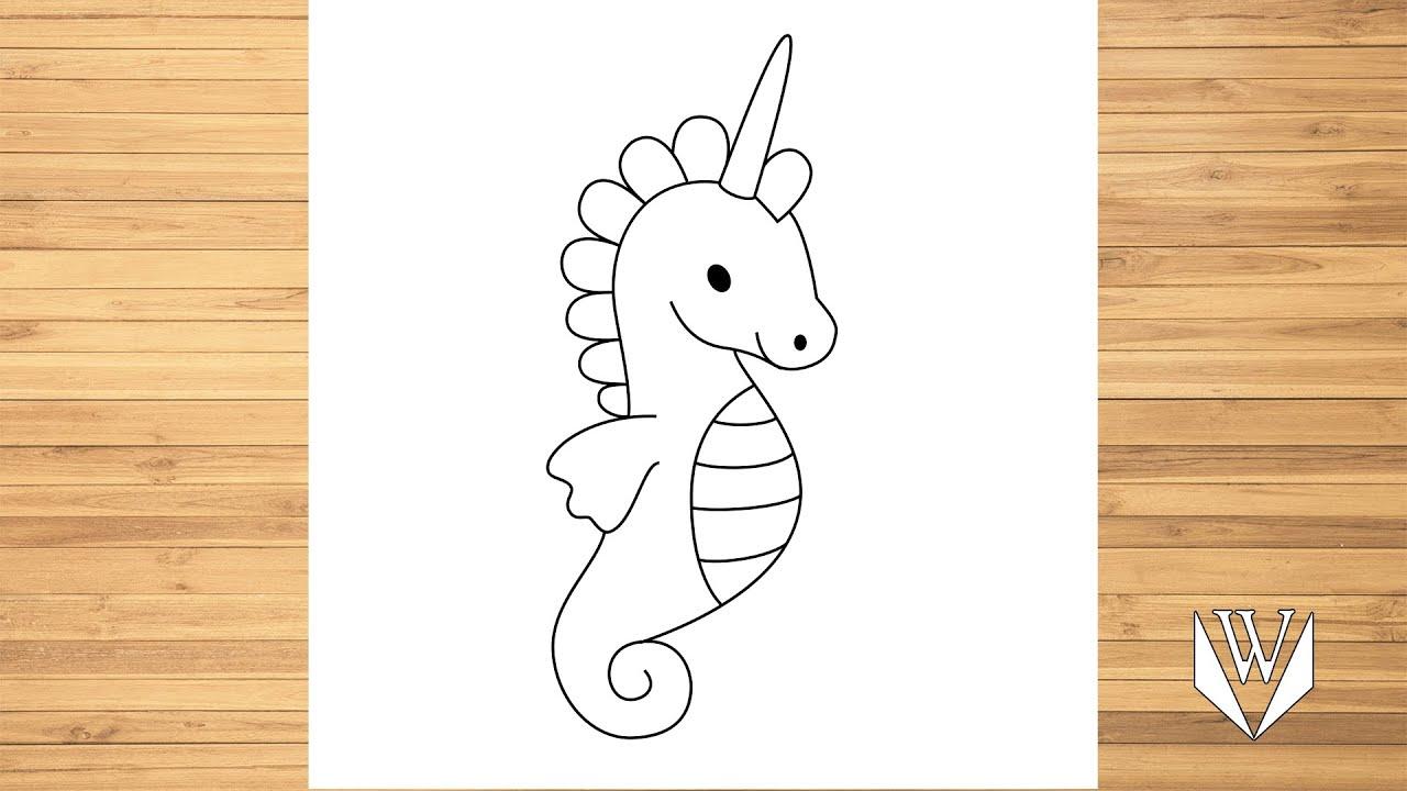 wie zeichnet man seepferdchen einhorn  schritt für