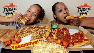 Pizza Hut Mukbang, Chicken Alfredo Pasta, Hot Wings, Breadsticks