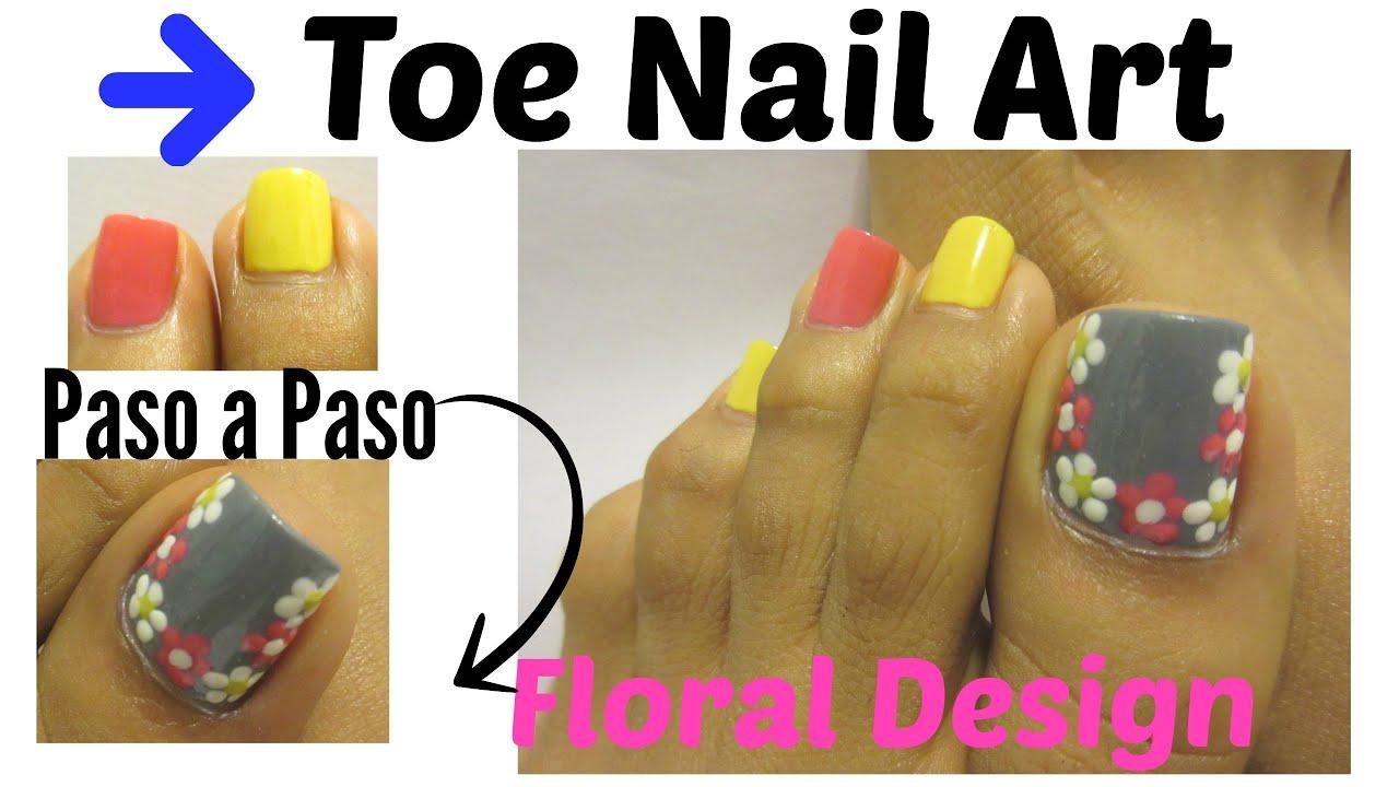 Flores f ciles decoraci n u as de pies floral design toe for Decoracion unas en pies