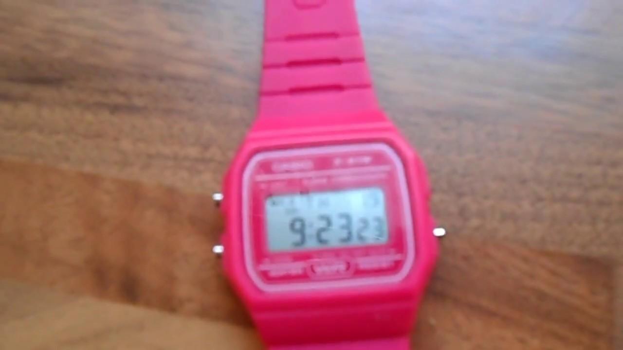 e4c5777eaef Casio F-91W Retro Genuine Resin Classic Digital Watch Alarm Stopwatch Hot  Pink VGC