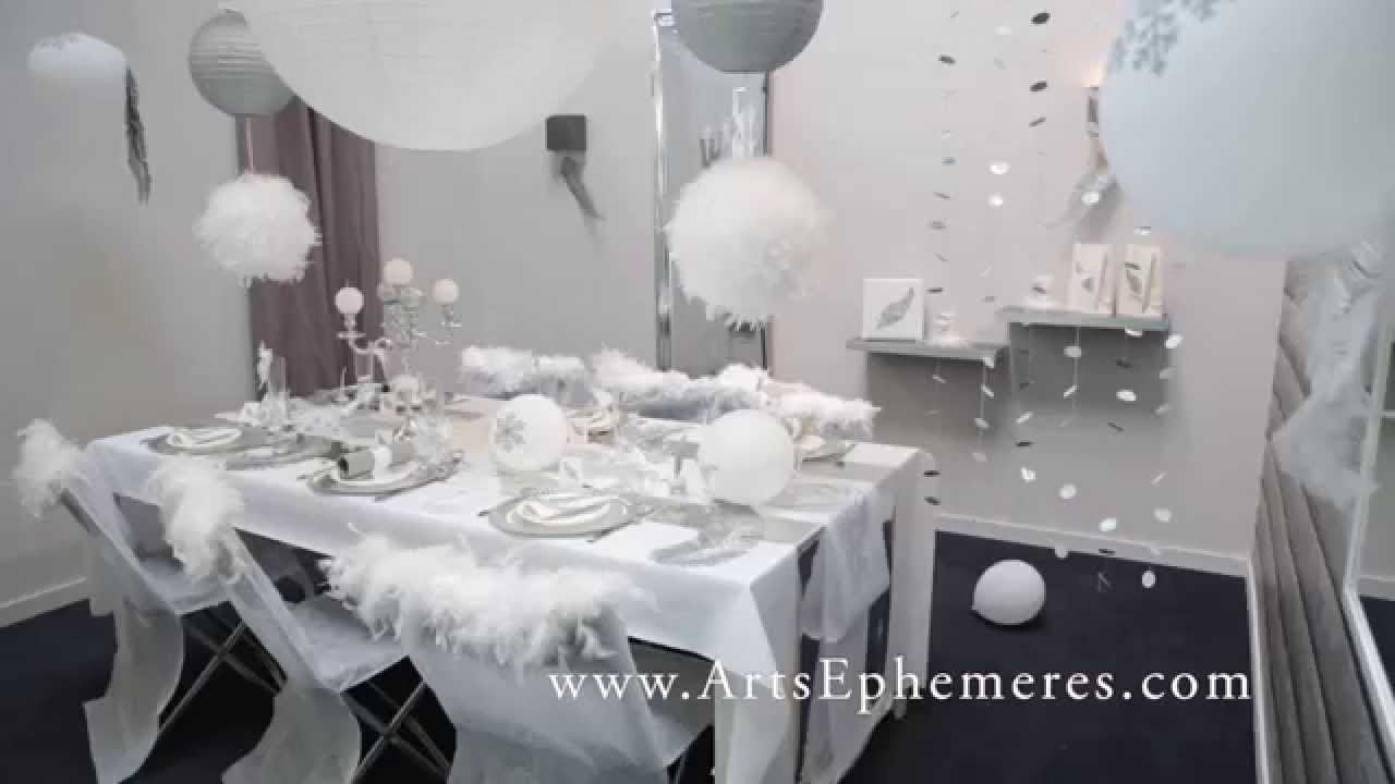 D coration de table de noel argent et blanche youtube for Deco table noel bleu et blanc