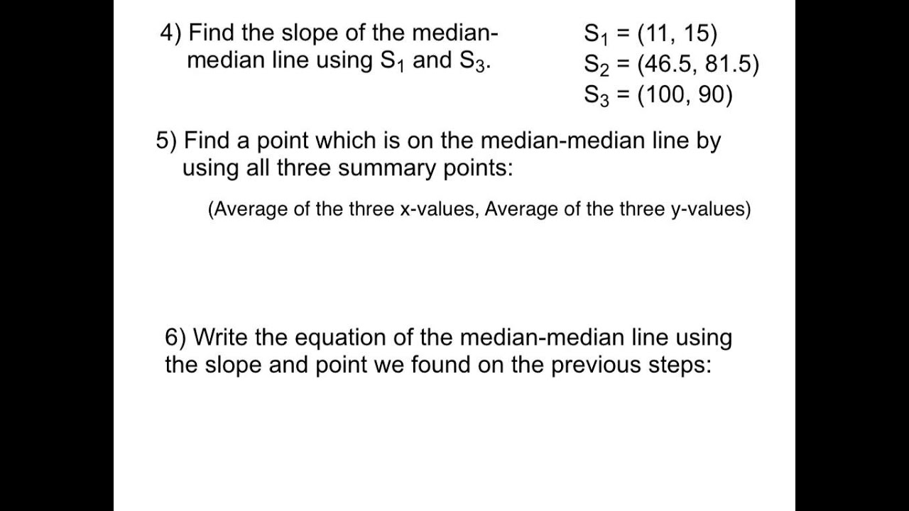 Writing The Equation Of A Medianmedian Line