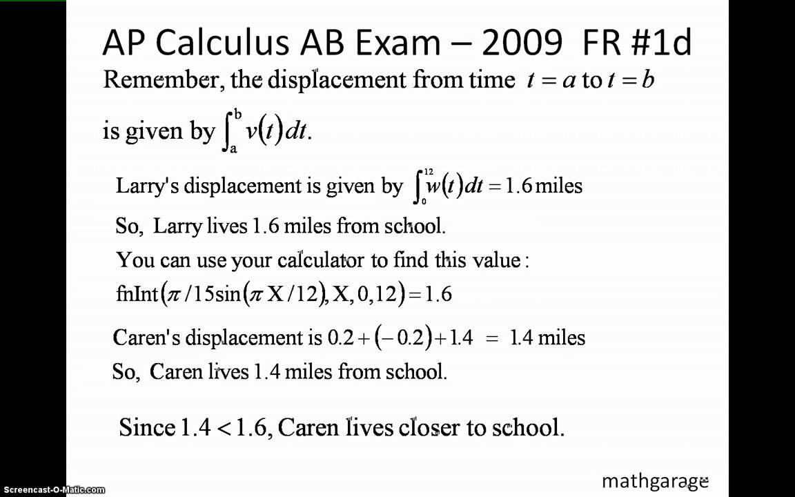 AP Calculus AB 2009 FR 1 2 3 - YouTube