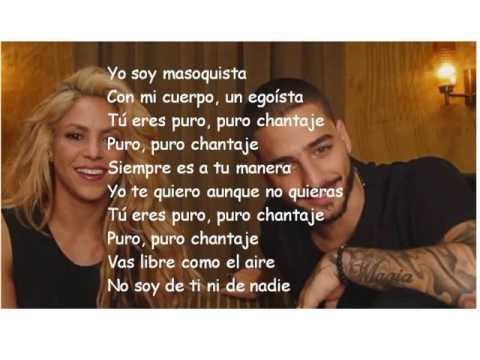Shakira Chantaje Letra Ft Maluma Youtube