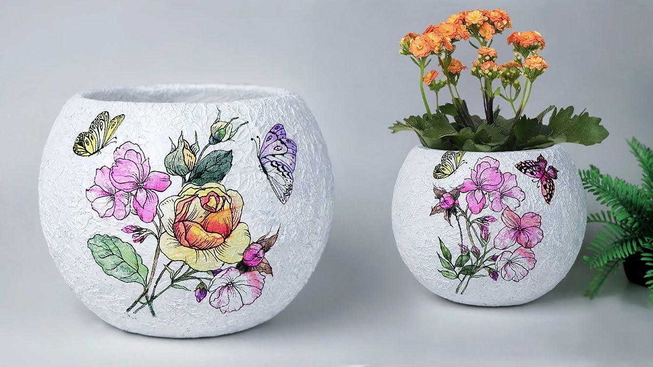 Easy flower vase Making    Cement flower vase - Tissue paper flower vase making