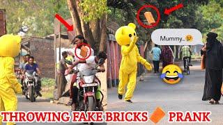Fake Bricks Throwing Prank on Strangers🤣 | Funny Reaction 😂😂| India 🇮🇳| Kolkata ❤️| Crazy Teddy