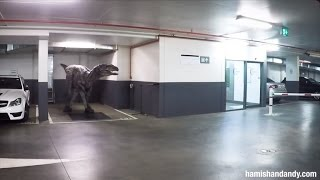 Employees Freak Out Co-Workers With Realistic Dinosaur in Parking Garage