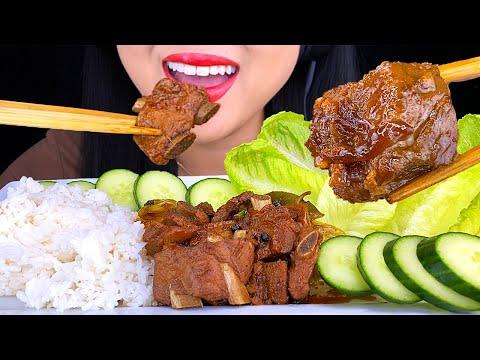 ASMR Pork Adobo Ribs Rice Platter with Veggies 먹방 MUKBANG Eating Sounds (NO TALKING) ASMR Phan