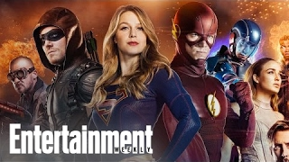 the cw s superheroes crossover heroes dish on the four way special   popfest   entertainment weekly