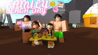 FAMILY BEACH DAY!!!!! II Roblox Bloxburg! The Cutely's