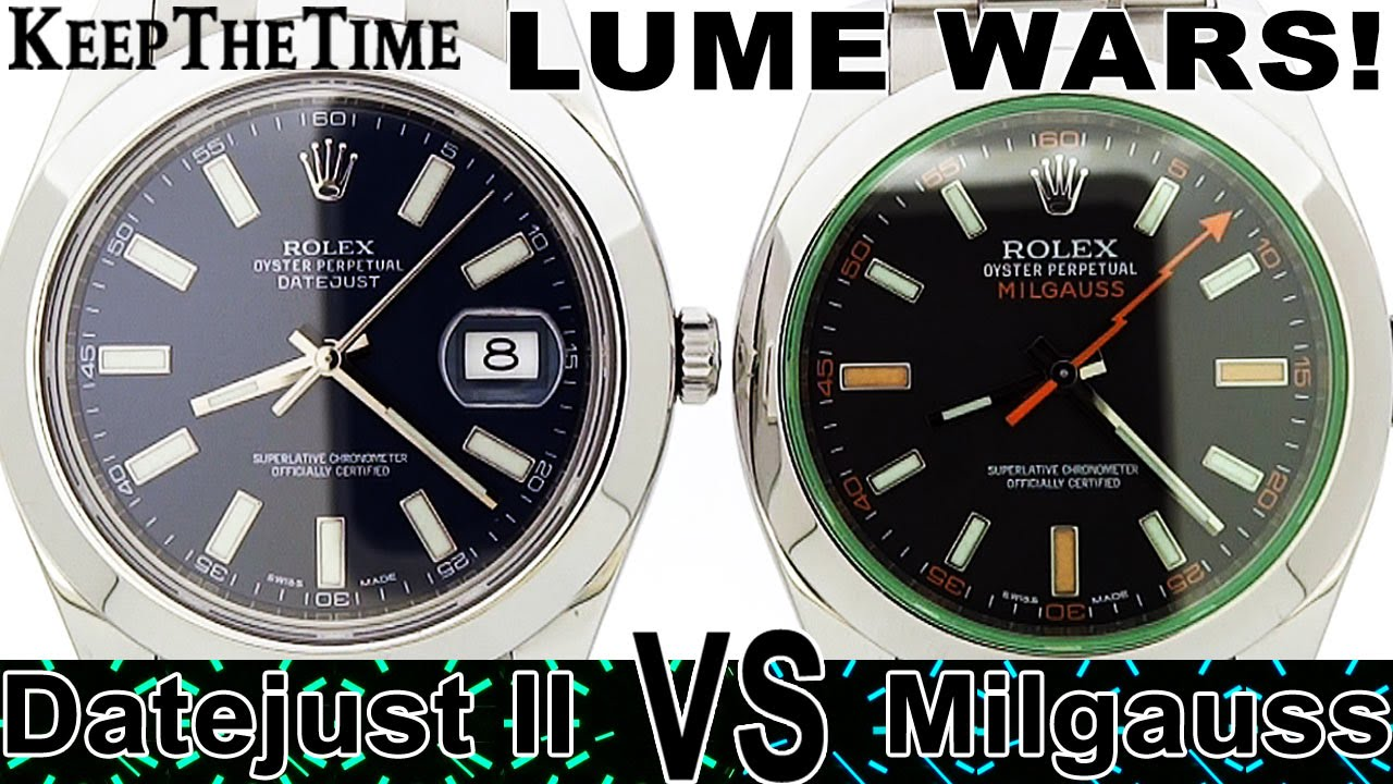 Lume wars 9 rolex datejust ii vs milgauss green crystal lume wars 9 rolex datejust ii vs milgauss green crystal chromalight youtube amipublicfo Images