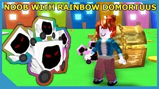 NOOB WITH RAINBOW DOMORTUUS BEATS THE GAME!! ROBLOX PET SIMULATOR