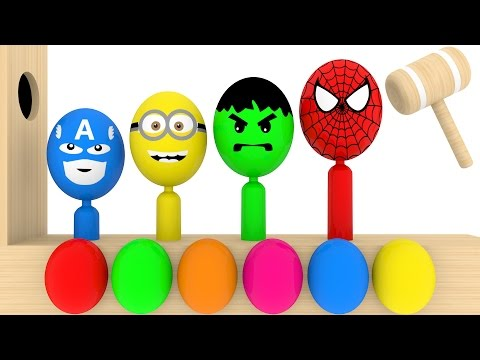 Thumbnail: Learn Colors With Surprise Eggs Wooden Xylophone Hammer For Kids - Learn Colours For Kids