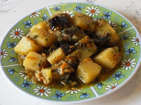Как потушить картошку с баклажанами