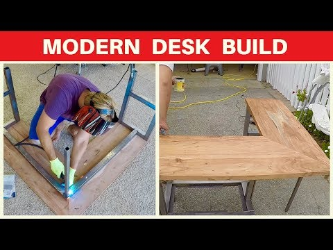 Modern Corner Desk Build - Mahogany - Metalworking and Woodworking Modern Furniture DIY