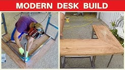 Modern Corner Desk Build - Mahogany - Metalworking and Woodworking Modern Furniture DIY