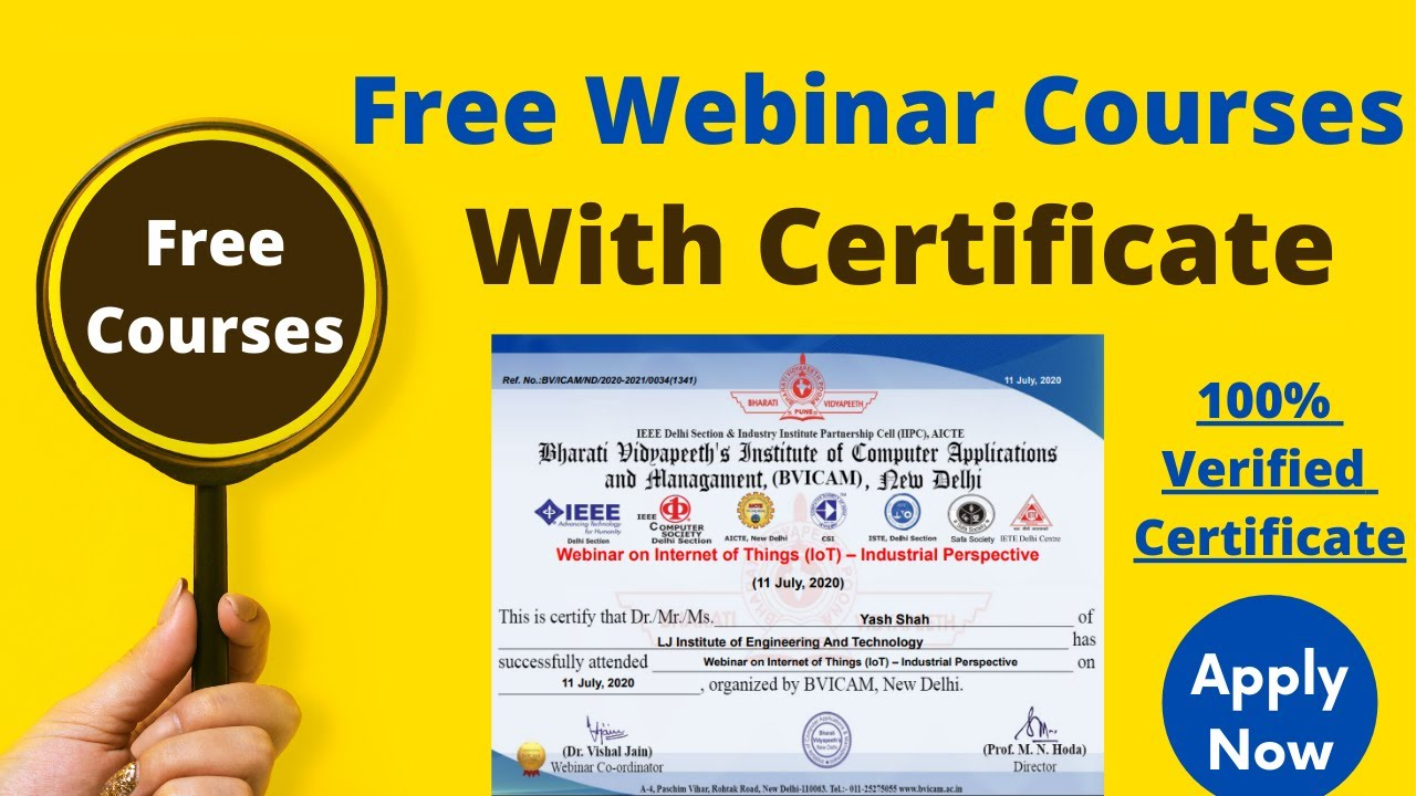 Free Government Webinar Courses for STUDENTS With Certificate | Data Science Webinar | #Freecourses