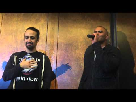 HAMILTON Ham4Ham 102815 Christopher Jackson sings the National Anthem