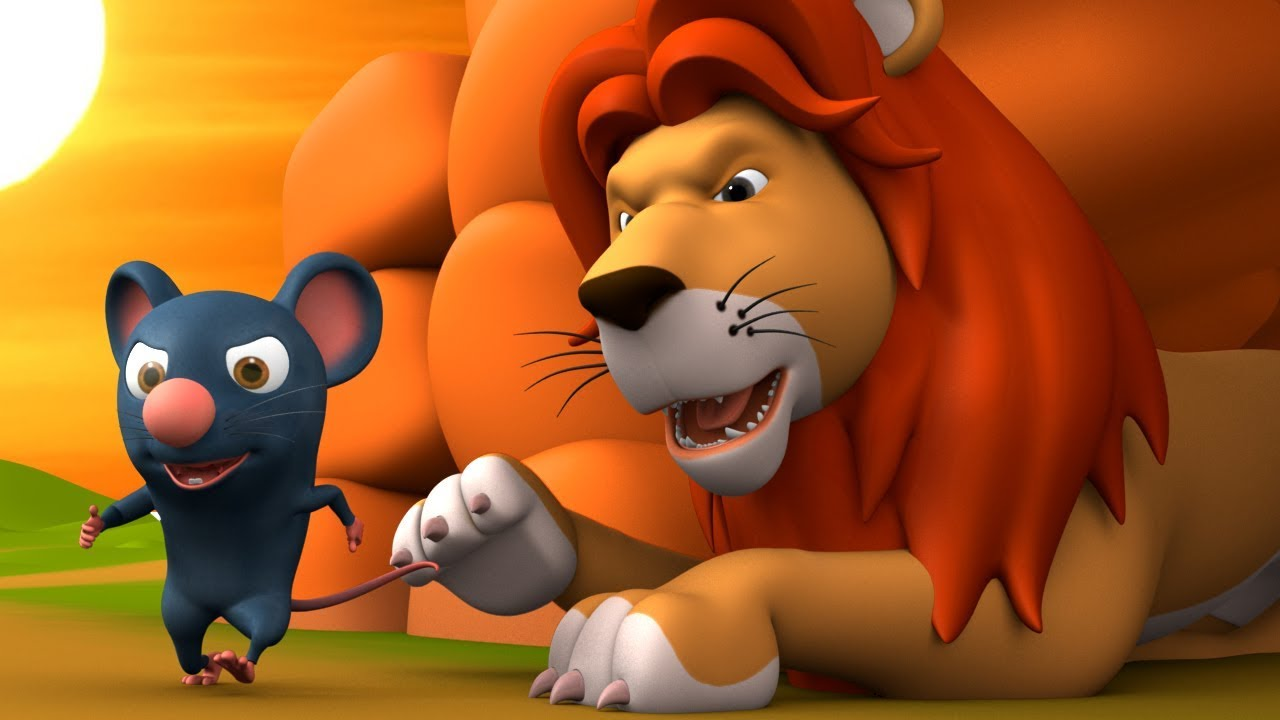 The Lion & Mouse 3D Animated Hindi Stories for Kids – Moral Stories शेर और चूहा हिन्दी कहानी Tales