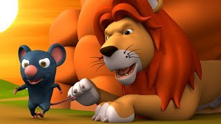 The Lion & Mouse 3D Animated Hindi Stories for Kids - Moral Stories शेर और चूहा हिन्दी कहानी Tales