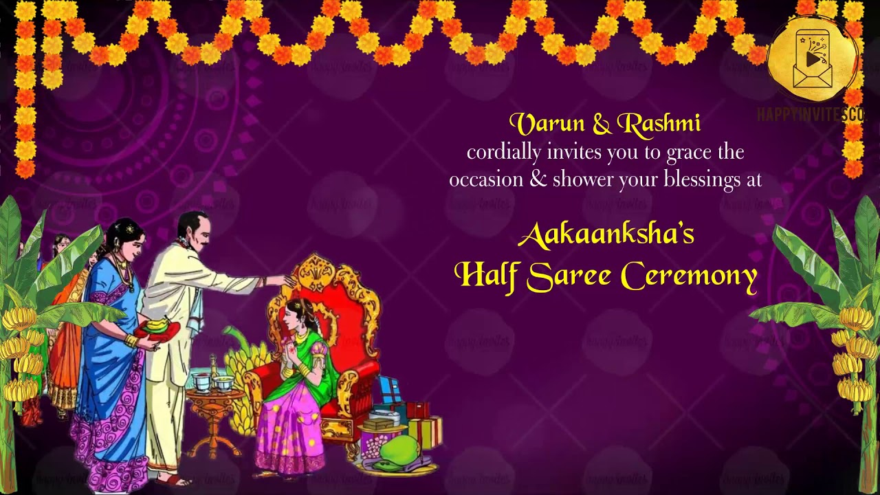 Hs01 Half Saree Function Invitation Video For Whatsapp