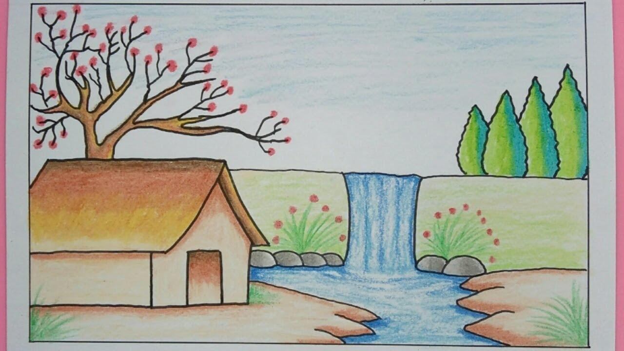 Cara Menggambar Pemandangan Air Terjun Dan Rumah Scenery Drawing Youtube