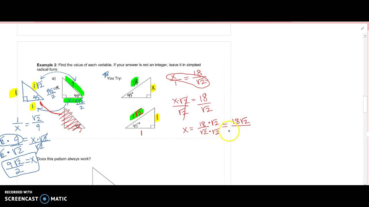 Whole number on hypotenuse of 45-45-90 - YouTube