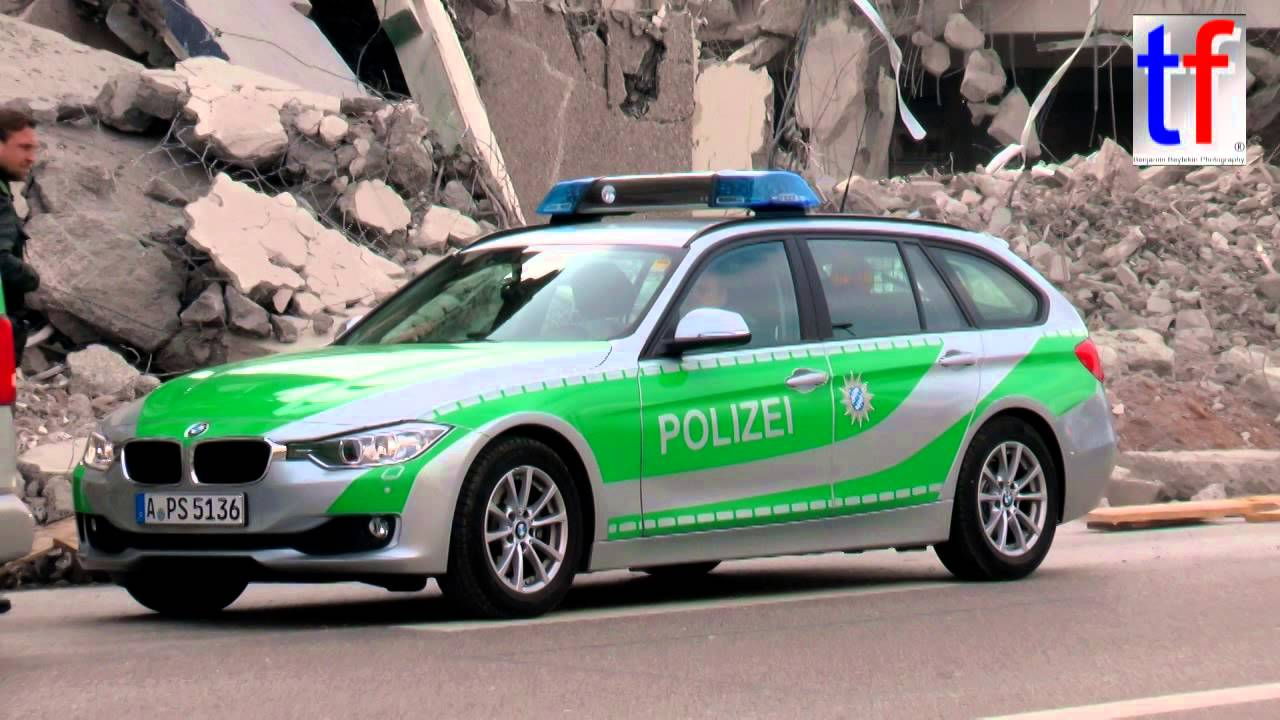 BMW Police Car Responding / Polizeiinspektion Augsburg BMW 3er Touring,  Germany, 14.03.2015   YouTube