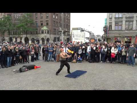 Dangerous Street Performances on Dam Square Amsterdam